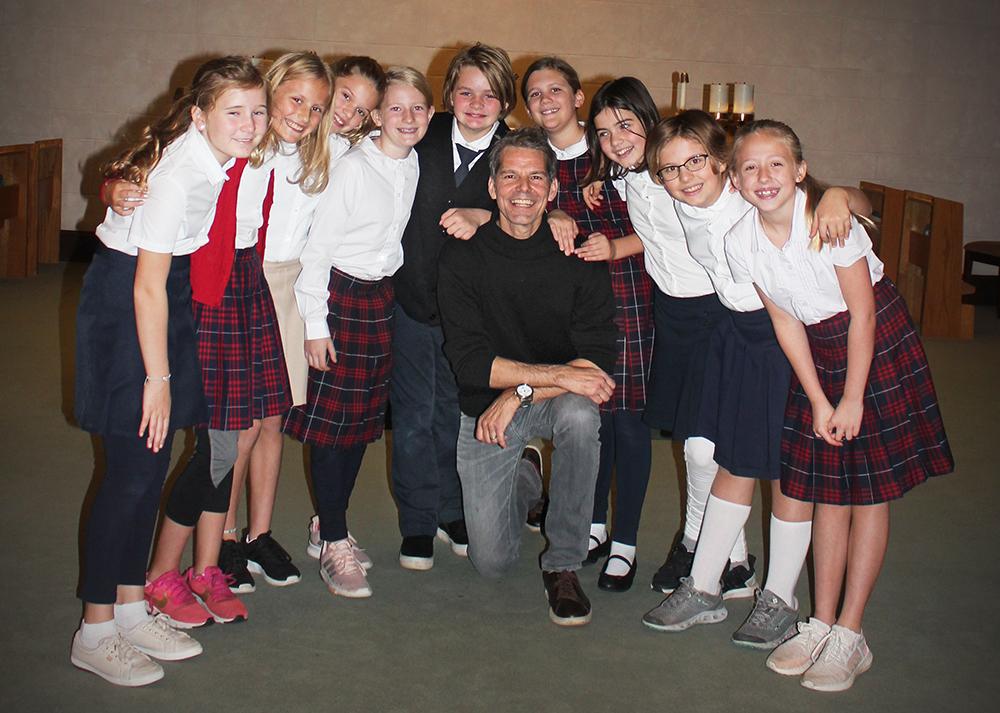 J. Robert with the St. Agatha's Girls Choir